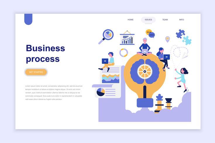 Modelo de página de aterrissagem do conceito de design plano moderno de processo de negócio. Aprendizagem e conceito de pessoas. Ilustração em vetor plana conceitual para a página da web, site e site móvel.