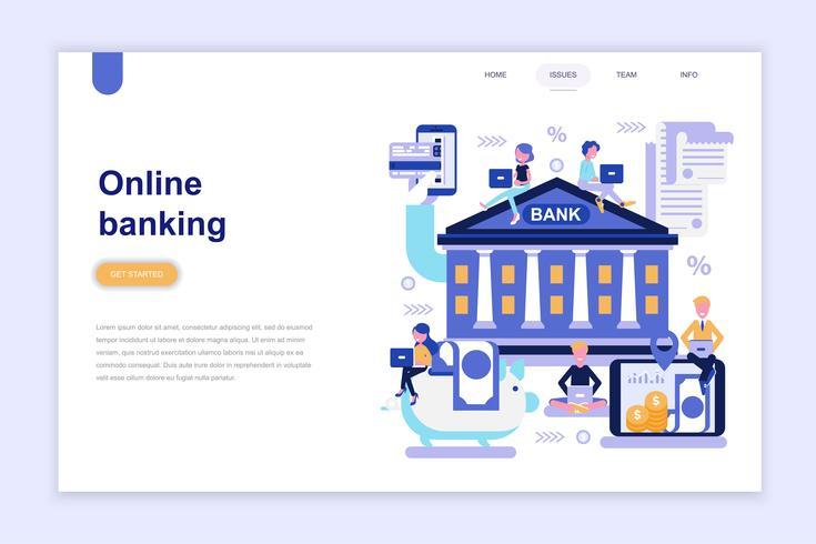 Modelo de página de aterrissagem do conceito de design plano moderno de banca on-line. Aprendizagem e conceito de pessoas. Ilustração em vetor plana conceitual para a página da web, site e site móvel.