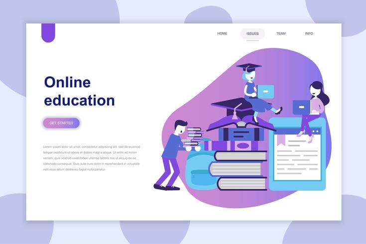 Conceito moderno design plano de educação on-line para o site e site móvel. Modelo de página de destino. Pode usar para banner web, infográficos, imagens de herói. Ilustração vetorial. vetor
