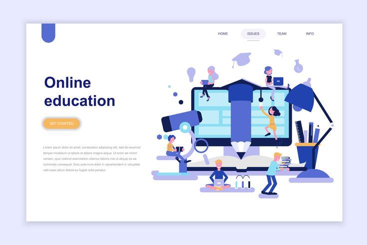 Modelo de página de aterrissagem do conceito de design plano moderno de educação on-line. Aprendizagem e conceito de pessoas. Ilustração em vetor plana conceitual para a página da web, site e site móvel.