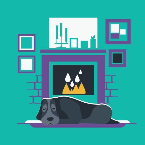 Cachorro descansando perto de uma lareira quente vetor