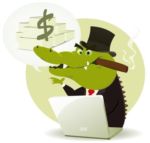 Crocodilo Bankster Crook vetor