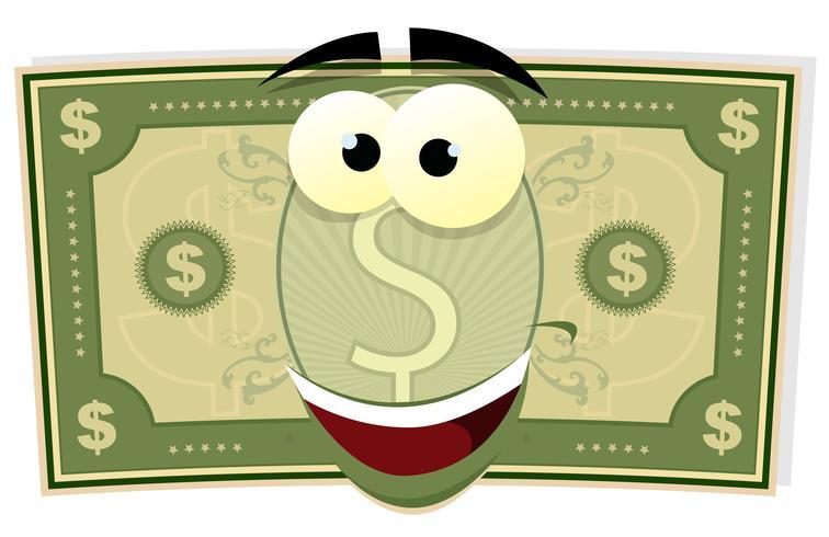 Personagem de dólar dos desenhos animados vetor