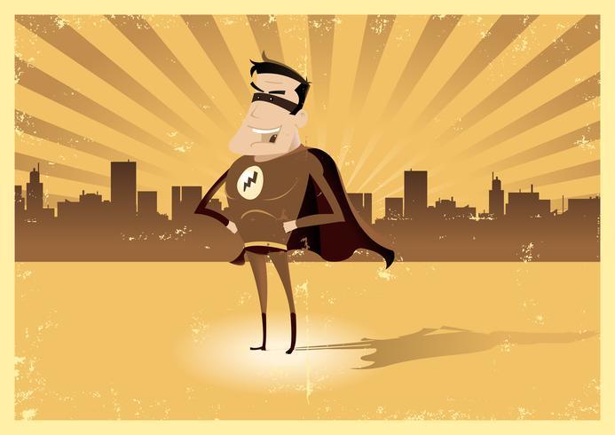 Super herói retro vintage - macho vetor