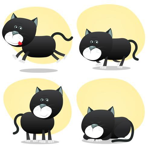 Conjunto de gato preto dos desenhos animados vetor