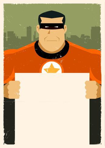 Sinal de anúncio de super herói urbano grunge vetor
