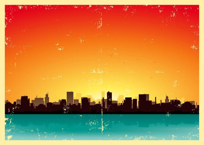Paisagem urbana de verão Grunge vetor