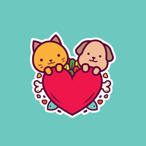 Vetor de adesivos gato e cão
