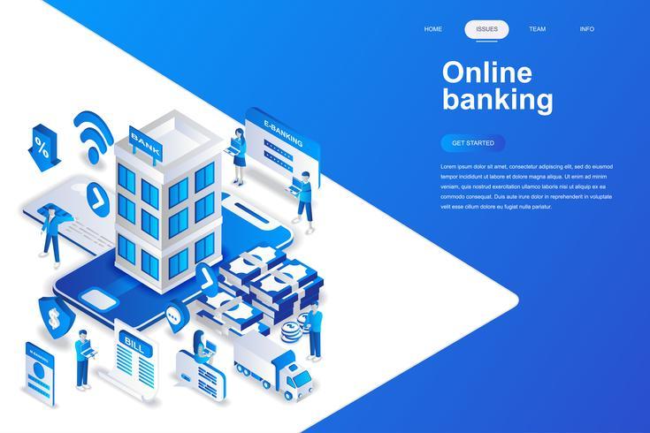 Conceito isométrico de design plano moderno de banca on-line. Banco eletrônico e conceito de pessoas. Modelo de página de destino. Ilustração isométrica conceptual do vetor para a Web e o projeto gráfico.