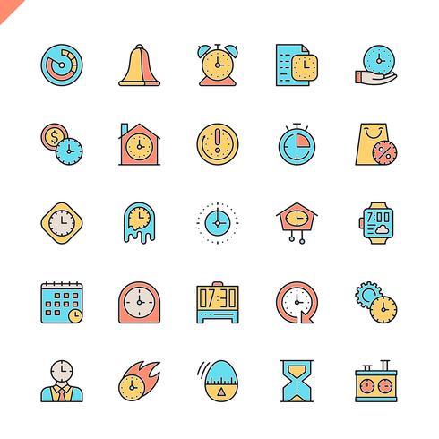 Ícones de tempo linha fixa definido para site e site móvel e apps. Design de ícones de contorno. 48x48 Pixel Perfeito. Pacote de pictograma linear. Ilustração vetorial. vetor