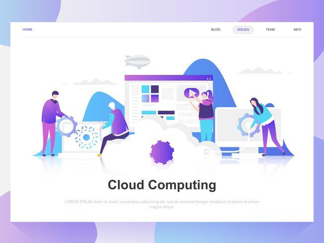 Conceito de design plano moderno de computação em nuvem. Modelo de página de destino. Conceitos de ilustração vetorial plana moderna para a página da web, site e site móvel. Fácil de editar e personalizar. vetor