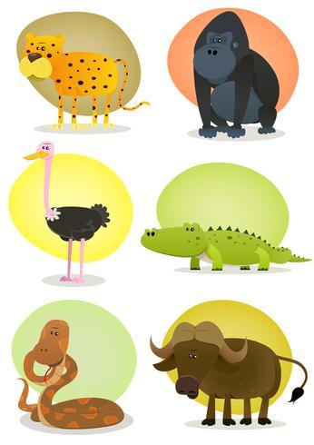 Conjunto de animais selvagens africanos vetor