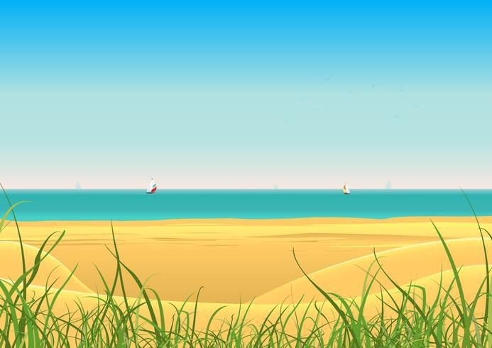 Praia de verão com fundo de cartão postal de veleiro vetor
