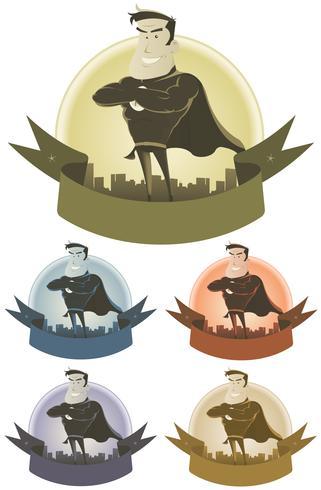 Banner de segurança de super-herói vintage vetor