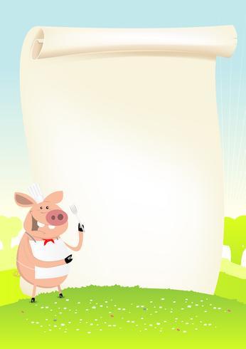 Cozinheiro engraçado do porco da mola em um campo vetor