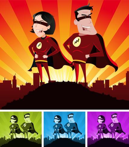 Super Heróis Masculino E Feminino vetor