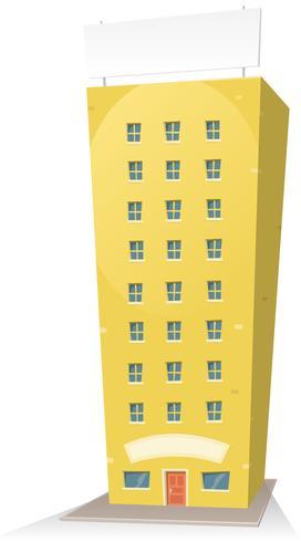 Edifício dos desenhos animados com sinal vetor