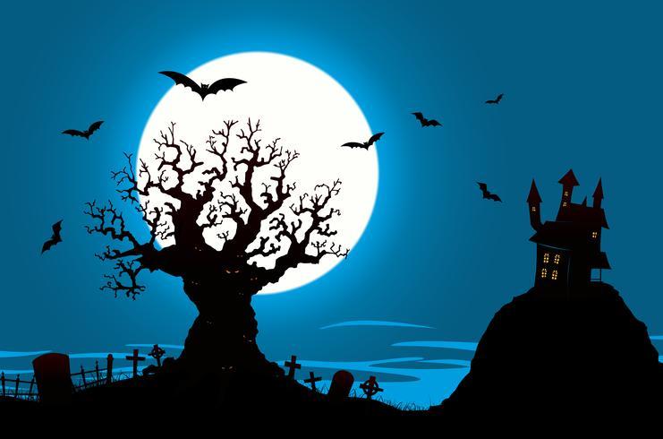 Poster de Halloween - casa assombrada e árvore do mal vetor
