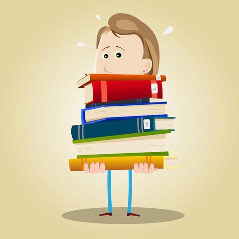 Mulher de bibliotecário ocupado vetor