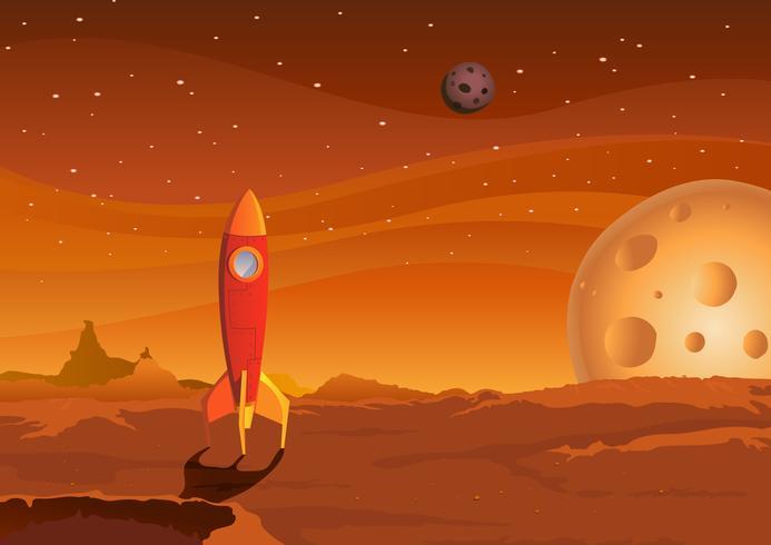 nave espacial-em-marciano-paisagem vetor