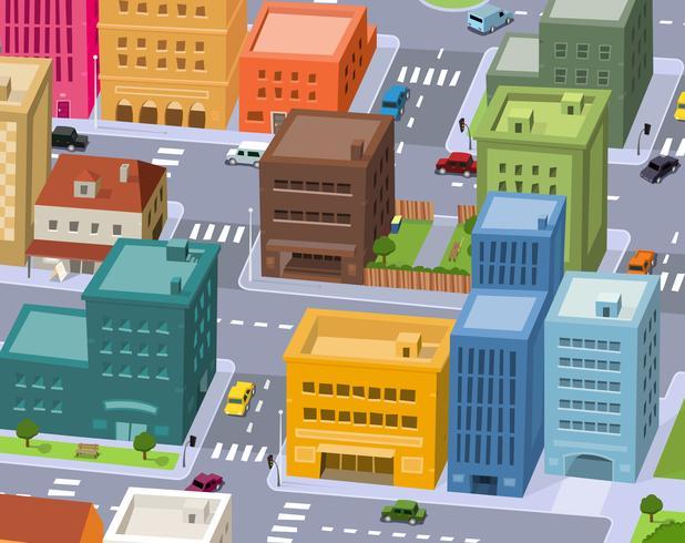 Cidade dos desenhos animados - cena do centro vetor