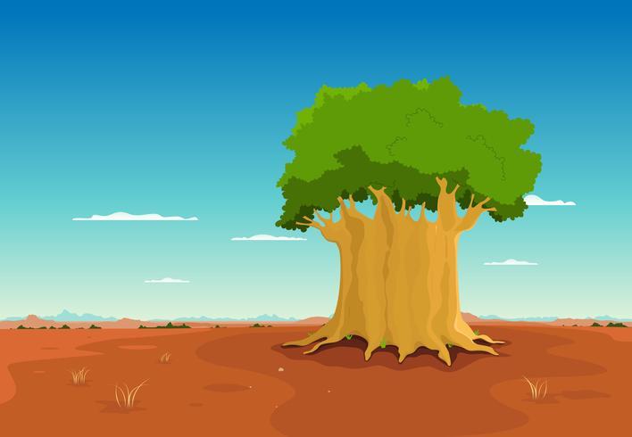 Baobab dentro do deserto africano vetor