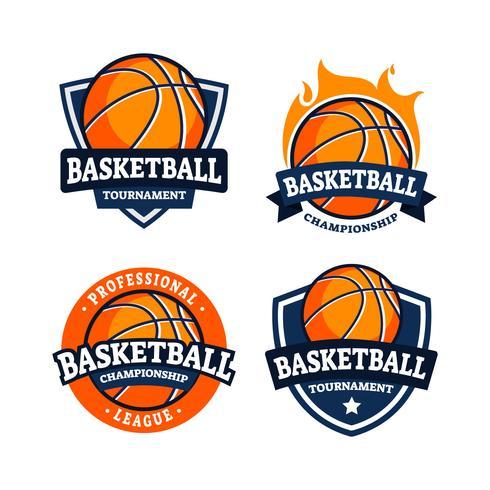 Conjunto de logotipo de distintivo de basquete vetor