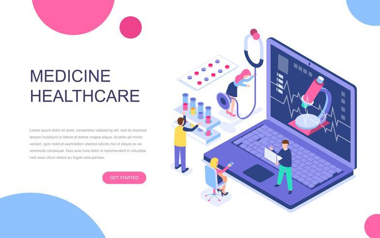 Conceito isométrico moderno design plano de medicina on-line vetor