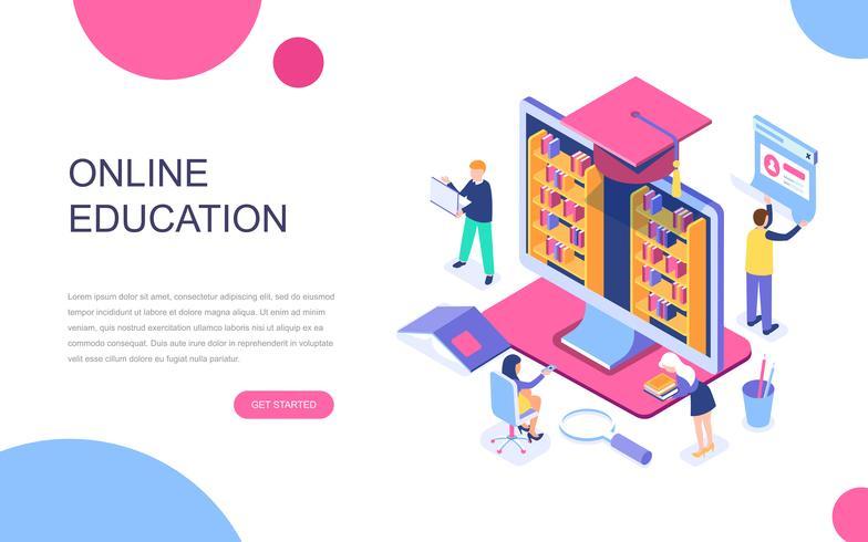 Conceito isométrico moderno design plano de educação on-line vetor