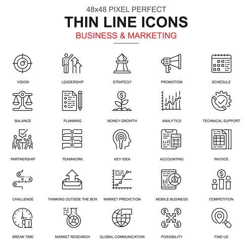 Negócio de linha fina e conjunto de ícones de marketing vetor