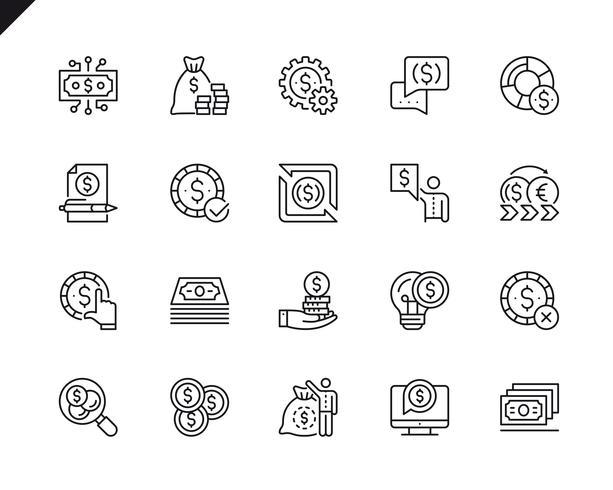Conjunto simples de dinheiro relacionados com vetor linha de ícones