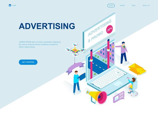 Conceito isométrico moderno design plano de publicidade e promoção vetor