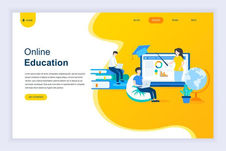 Conceito moderno design plano de educação on-line vetor