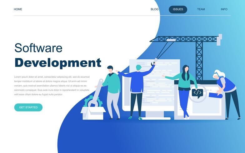 Conceito moderno design plano de desenvolvimento de software vetor