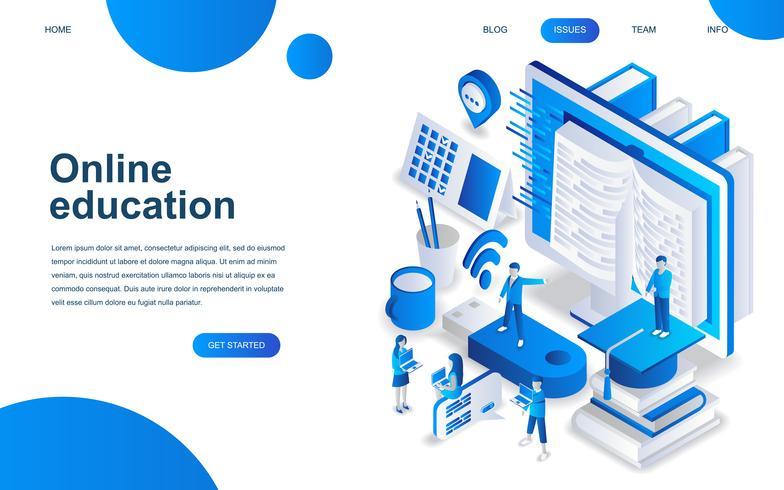Conceito moderno de design isométrico de educação on-line vetor