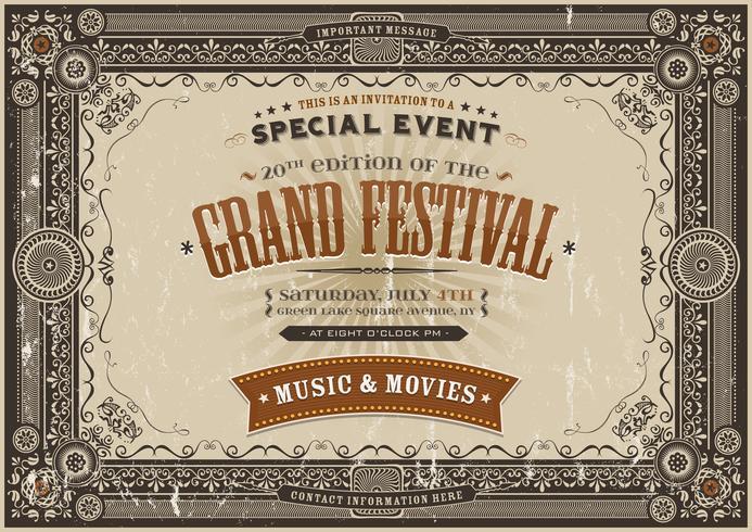 Fundo de Poster Vintage Festival Retro vetor