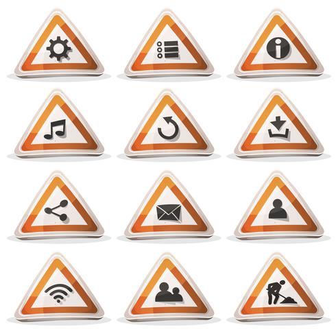 Ícones de sinal de estrada e botões para o jogo de interface do usuário vetor