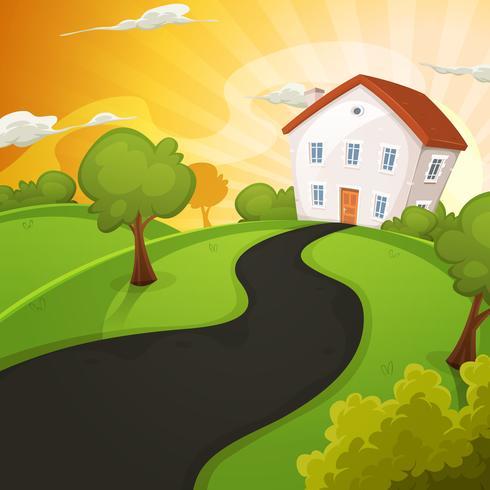 Casa de Verão dentro de campos verdes no nascer do sol vetor