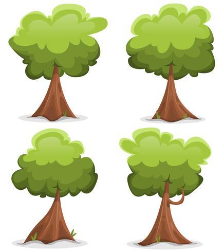 Conjunto de árvores engraçadas verde vetor