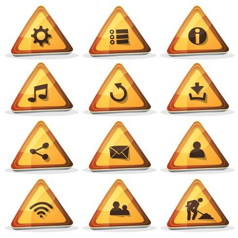 Web e sinal de estrada ícones e botões para o jogo de interface do usuário vetor