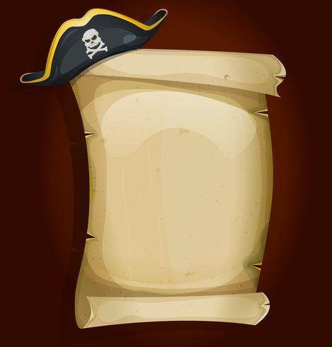 Chapéu de pirata em pergaminho antigo vetor