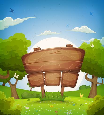 Primavera e verão paisagem com placa de madeira vetor