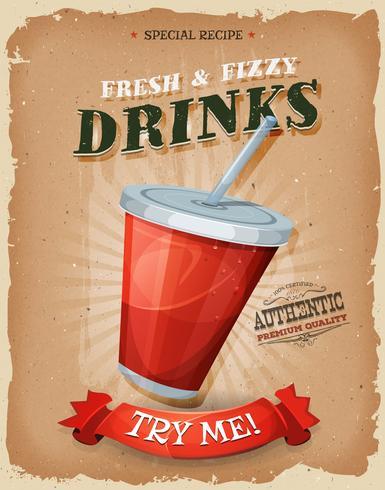 Bebidas do Grunge e do vintage e poster da bebida vetor