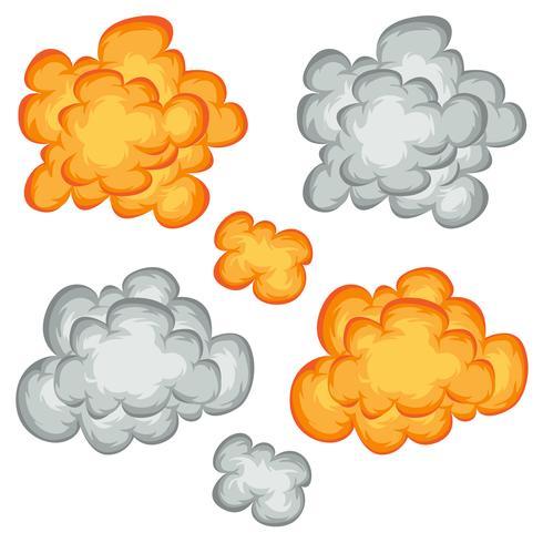 Explosão de quadrinhos, nuvens e conjunto de fumo vetor