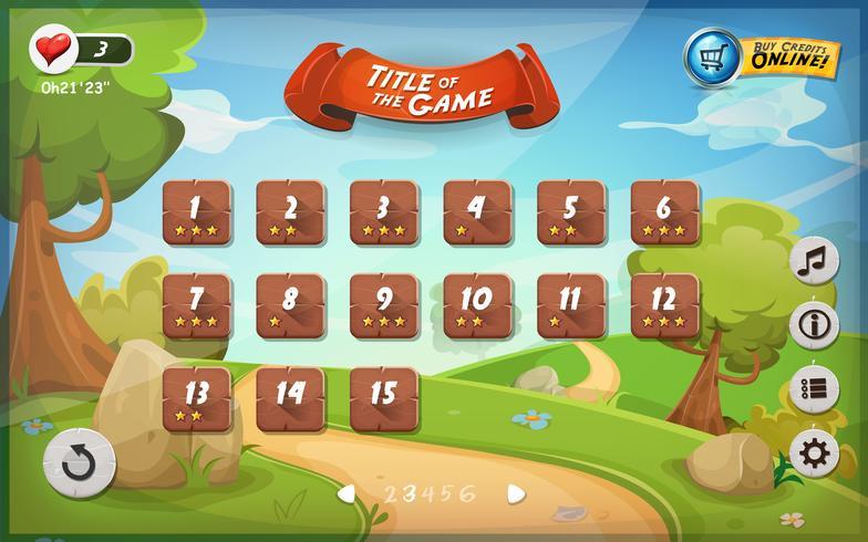 Design de interface de usuário do jogo para tablet vetor