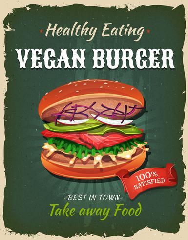 Cartaz retro do hamburguer do Vegan do fast food vetor