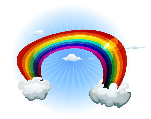 Céu com arco-íris e nuvens vetor