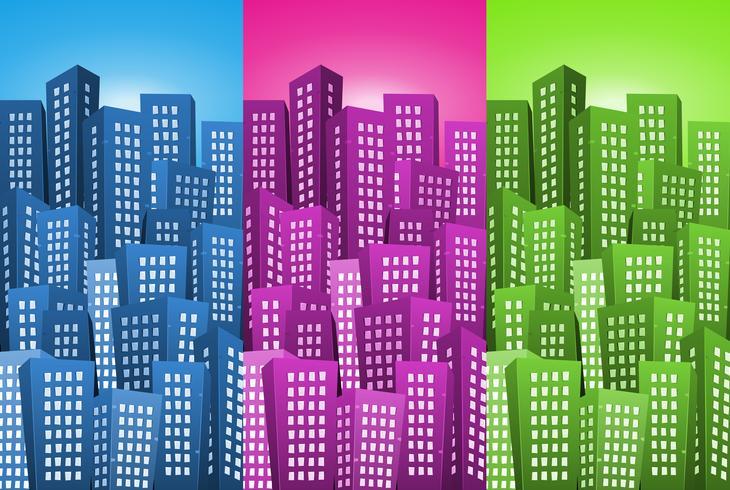 Conjunto de fundos de paisagem urbana vetor