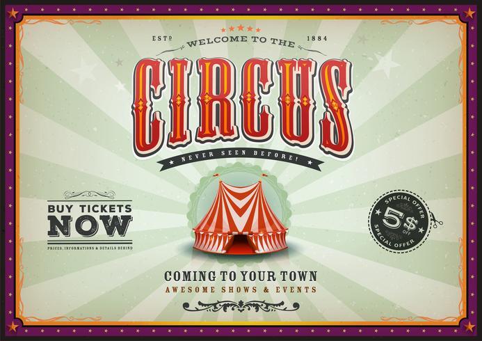 Cartaz de circo Horizontal Vintage com raios de sol vetor