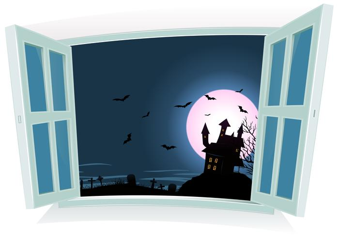 Paisagem de Halloween pela janela vetor